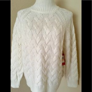 Vince Camuto white sweater chunky turtleneck new